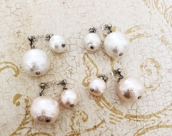 Invisible Clip on 2 way cotton pearl earrings / Non pierced earrings / Comfortable clip on earrings / Wedding jewelry /Bridal jewelry