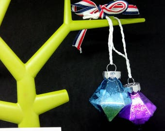 Blue & purpleglass bauble, snowglobe bauble, snow filled bauble,  Christmas bauble, green bauble, glass baubles, snow filled bauble,