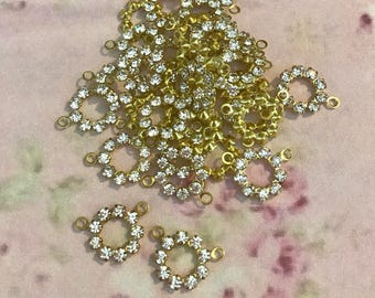 5 vintage clear swarovski austrian crystals in brass prong setting two rings 10mm #mr230-20