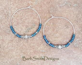 """Beaded Blue Petrol Matte Blue and Silver Hoop Earrings, Large 1 3/8"""" Diameter in Petrol"""