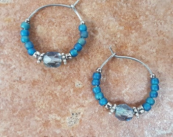 "Beaded Blue Teal Turquoise and Silver Stainless Steel Hoop Earrings, Small 3/4"" Diameter in Montana Teal"