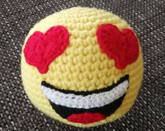 Crochet ball emoji smiley with eyes