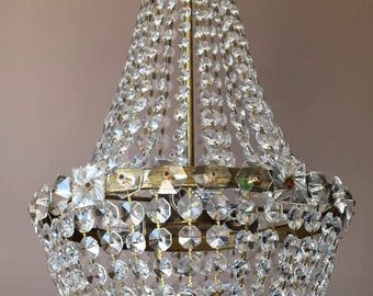 SALE Brass Empire Vintage Crystal Chandelier Lighting  Antique Italian Style Vintage Crystal Chandelier - Home and Living Fittings & Fixture