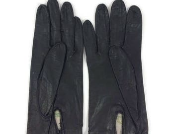 Vintage Black French Kid Skin Gloves - Vintage Driving Gloves - Wrist Gloves - Sewn in Philippines