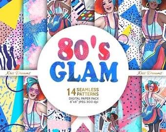 SALE 50% OFF 80s Fashion Seamless Digital Paper Makeup Stilleto Bracelet Heels Lipstick Woman Fashion Illustration Retro 80's Era Glitters N