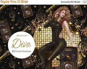 SALE 50% OFF Diva Music Lover Fashion Digital Clipart Clip Art Fashion Illustration African American Asian Latina Singer Musician Artist Mus