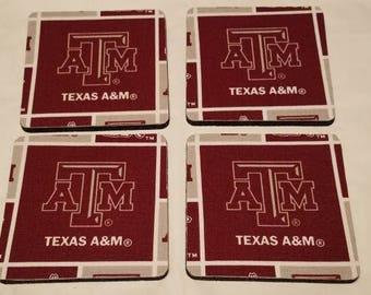 Texas A & M Aggies 4 pack Coaster set