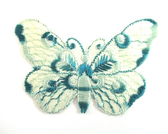 Butterfly applique 1930s vintage embroidered applique. Vintage patch, sewing supply. Crazy quilt #6ADG9AK4