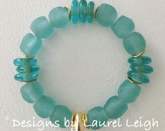 GOLD and BLUE Sea Glass Bracelet |aqua, high quality, gold plated, stretchy, Designs by Laurel Leigh