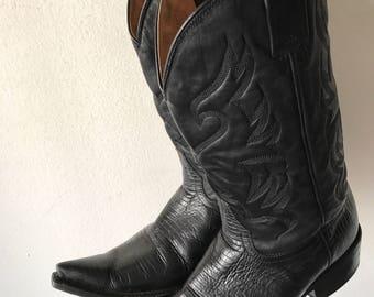 Black western cowboy boots man size 9 .