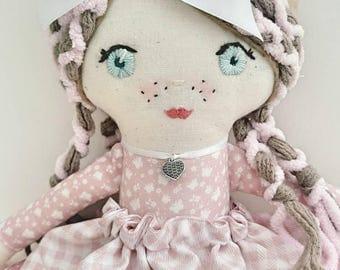 Handmade cloth doll, birthday gift, doll, cloth doll, fabric doll, ragdoll, pink, white, handmade doll, ribbon. Gift for a girl