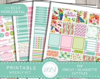 Horizontal Planner Stickers, Printable Planner Stickers, fits Erin Condren Horizontal, Printable Weekly Stickers Kit, Tropical Planner,HS132