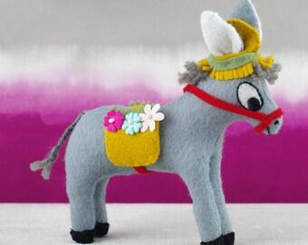Vintage style donkey soft toy, wool felt, hand sewn.