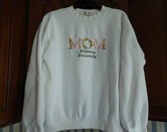 Vintage MOM Kettering University Sweatshirt Size Medium in White
