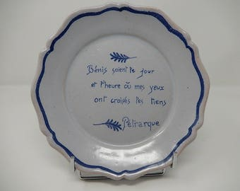 Old Plate in Charolles faience with quote from Petrarch, free delivery!