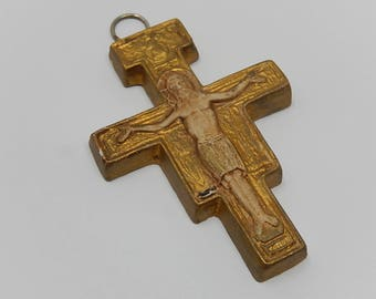 Crucifix in polychrome plaster, free shipping