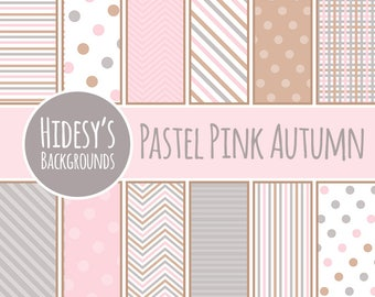 Pastel Pink Autumn Digital Paper / Patterns Commercial Use Backgrounds