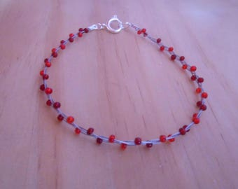 Trendy bracelet red seed beads