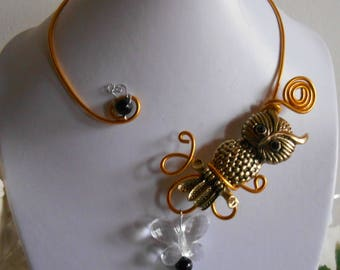 Evening necklace wedding gold OWL