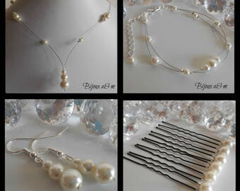 Set of 4 wedding pieces cascade of ivory pearls