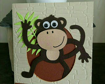 Hello 3D card birthday monkey Brown and beige