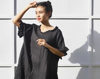 Linen frill shirt dress (black)