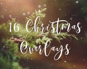 16 Christmas Holiday Text Overlays - jpg &png INSTANT DOWNLOAD