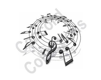 Music Notes - Machine Embroidery Design