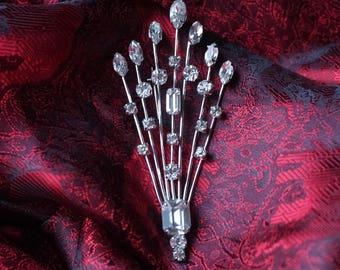 Rhinestone Sterling Brooch Vintage 1950's Jay Flex Canada Signed Crystal Hallmarked Silver