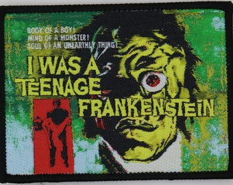 PATCH - I Was A Teenage Frankenstein - HORROR / cult classic movie - woven, iron-on