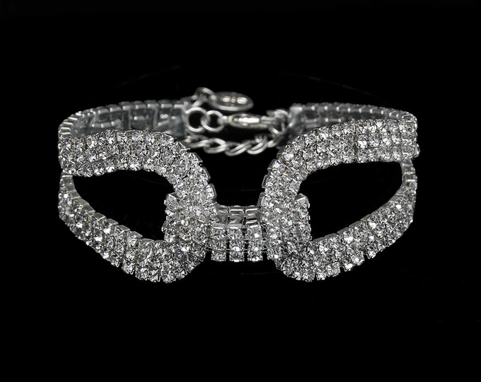 Danielle Clear Crystal Rhinestone Competition Bracelet for IFBB and NPC Bikini Fitness Bodybuilding Contests