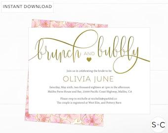Brunch and Bubbly Invitation,Brunch and Bubbly Invitation template, Gold Bridal Shower Invitation, Wedding Shower Invite,