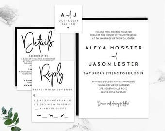 Black and White Wedding Invitation Template, Wedding Invitation, Invitation Template, Printable Invitation, Wedding Invite, Rustic Wedding