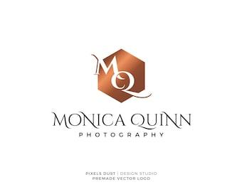 Premade Logo Hexagon Logo, Elegant Modern Luxury Logo, Photography, Copper Rose Gold, Logos, Initials Watermark,