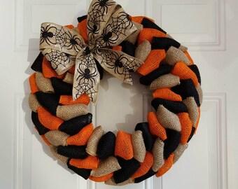 Halloween wreath Fall wreath burlap wreath autumn wreath Thanksgiving wreath rustic wreath primitive wreath spider wreath