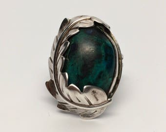 Chrysocolla Leaf Sterling Ring Size 7