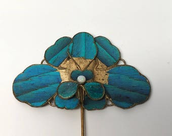 Kingfisher Feather Stick Pin Jewelry
