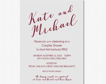 Wine Bridal Shower Invitation, Couples Bridal shower, Gray Bridal Shower, Couples Shower, BBQ, Wine and Gray