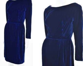 60s Blue Velvet Cocktail Dress-1960s Pencil Dress-Long Sleeved-Wiggle Style Party Dress-S-Small
