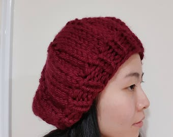 Knitted Beret - Slouchy Hat - Chunky - Burgundy - Wine
