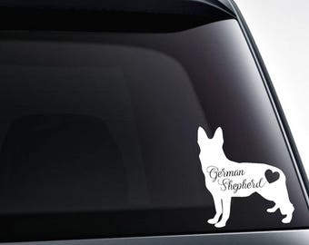 German Shepherd heart die cut vinyl decal sticker / car windows, tumblers, laptop decals