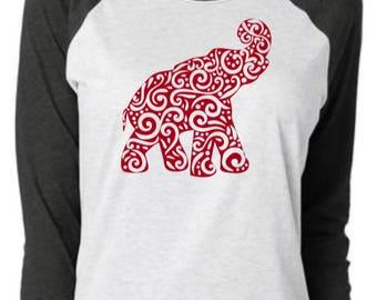 ALABAMA ELEPHANT SWIRL Raglan | Football Shirt | Alabama Shirt | Roll Tide Shirt