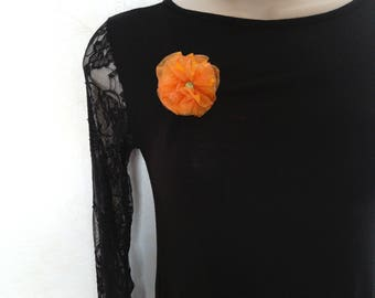 Orange organza hair clip brooch, handmade