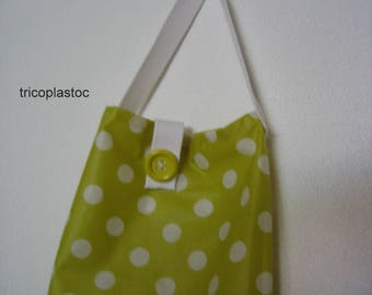 Bag with bread lime striped canvas, laminated, recycled and made hand machine remains canvas [a] tricoplastoc