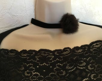 Genuine rabbit fur Pompom black velvet Choker necklace
