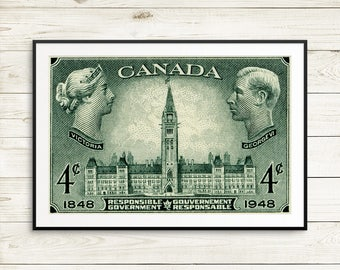 P102 Ottawa Canada, Canadian Parliament, Queen Victoria, King George VI, Responsible Government, Peace Tower, Victorian Art, green posters