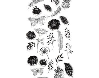Flowers and Feathers Clear Stamp Set of 25