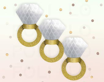 HONEYCOMB RINGS | Gold Engagement Ring Decoration | Wedding Decoration | Bridal Party Decoration | Bachelorette Decor | Gold Glitter Decor