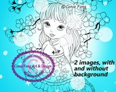 Digital Stamp, Digi Stamp, digistamp, 2 images Little Blossom by Conie Fong, girl,  birthday, coloring page, oriental, flower