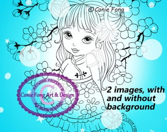SALE-Digital Stamp, Digi Stamp, digistamp, 2 images Little Blossom by Conie Fong, girl,  birthday, coloring page, oriental, flower